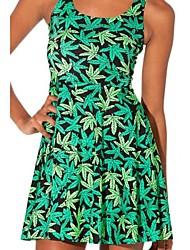 Sexy Summer Green Leaves Fashion pieghe del vestito delle donne