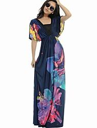 Women's Plus Size Floral Print Bohemian Maxi Dress