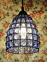 Chandelier Blue Glass Iron Lamp Frame E26/E27 Mediterranean Style  Hand-Knitted In Nepal