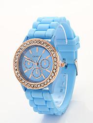 cdong diamant coréen montre de silicone de sport (bleu ciel)