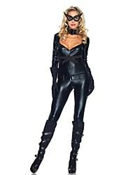 Catwomen Negro PU de cuero de las mujeres Backless del traje de Halloween