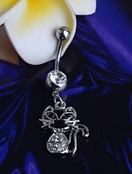 lureme®316l chirurgische Titan Stahl Kristall Katze Anhänger Nabel Ring