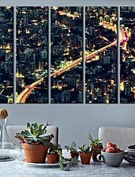 Stretched Canvas Art Landscape City Lights Set of 5