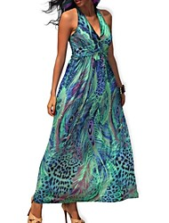 Women's Deep V Collar Bohemia Peacock Print Sleeveless Silk Maxi Dress