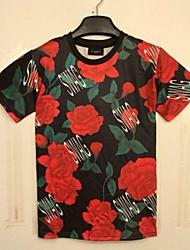 Mannen Europa Fashion korte mouwen Print Rode bloemen 3D T-shirts