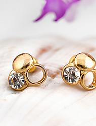 Jinbaili Europa exquisita Bohemia Pendientes Diamante (Oro)