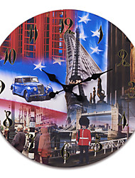 "23""H UK Architecture Style Retro Wood Wall Clock"