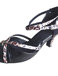 Customized Women's Leatherette With Leopard Strap Latin Salsa Dance Shoe