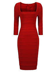 MS Women's Half Sleeve Bandage Dress(Red)