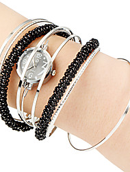 Women's Beaded Decor Steel Strap Quartz Bracelet Watch (Assorted Colors)