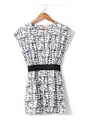 Women's Round The Pattern Bigger Sizes Elastic Waist Dress