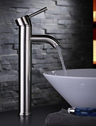 Contemporary Nickel Brushed One Hole Single Handle Bathroom Sink Faucet