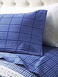 "Sheet Set,4-Piece Microfiber Stripe Dark Blue with 12"" Pocket Depth"
