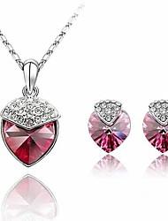 M & N Mulheres Padrão Jóias Áustria cristal do coração do pêssego Set 715