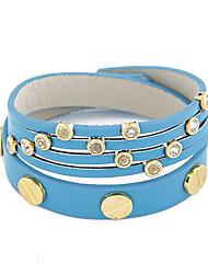 Korean Fashion Lady  OL Metal Diamond Double Fine Leather Bracelet