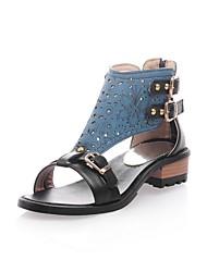 Chaussures Femme - Soirée & Evénement - Noir / Bleu / Rose / Violet / Rouge - Gros Talon - Bout Ouvert - Sandales - Similicuir