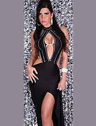 Exotic Deep V-Neck Black Polyester Bodycon Women's Evening Party Dress Sexy Uniform