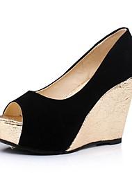 Zapatos de mujer - Tacón Cuña - Tacones - Tacones - Casual - Semicuero - Negro / Rosa