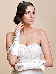 Elbow Length Fingerless Glove Satin/Lace Bridal Gloves