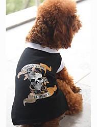 Собаки Футболка Черный Одежда для собак Лето Черепа
