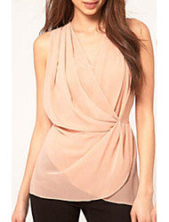 Women's V Neck Pleated Waist Sleeveless Chiffon Blouse