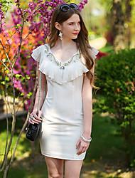 DABUWAWA Chiffon Beads Ruffle COLlar Dress-101