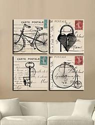 Leinwand-Kunst Retro Fahrrad Und Tasten Set von 4