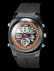 Men's Multi-Functional Dual Time Zones Black Rubber Band Sporty Wrist Watch