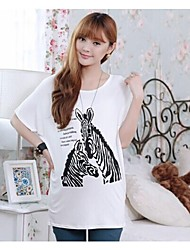 Cartoon Horse Printed Batwing T shirts for Pregnant Women Loose Maternity Top Clothing