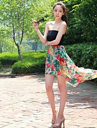 Women's Floral Multi-color Dress , Sexy/Beach Strapless Sleeveless