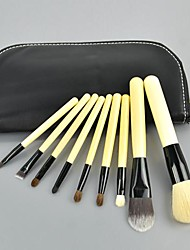 9 PCS Set Cosmetic Brush Make up Tool Kit + Zipper Leather Pouch Case 10404