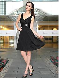 Überhaupt-Hübsch V-Ausschnitt Strass Rüschen besetzte Taille Schwarz schimmernde Kleid