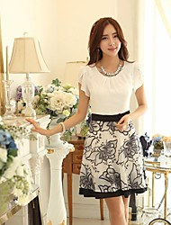 Women's Dress,Floral Above Knee Short Sleeve White Cotton Spring / Summer / Fall
