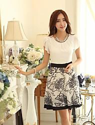 Women's Round Collar Print Chiffon Bud Short Sleeve Dress