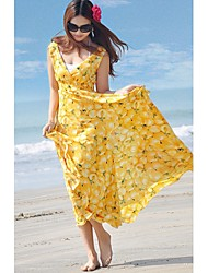 Le soleil Bohême ChiffonV Neck Dress FitLong Slim (jaune)