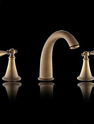 Classic Antique Brass Two Handle Three Holes Bathroom Sink Faucet