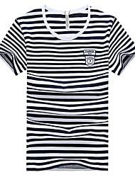 Gola redonda simples luva Stripes curta camiseta Masculina