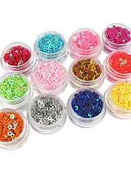 12 Color Hollow Five-pointed Star Glitter Nail Art Decorations
