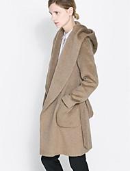 Шерсть HAODUOYI ™ Смеси пальто с капюшоном