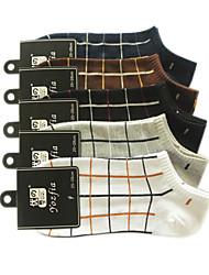 Motif net de coton d'hommes de chaussettes de sport (5 paires, One-Size EUR39-43)