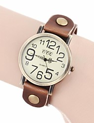 Women's Vintage Number Dial PU Band Quartz Analog Wrist Watch (Assorted Colors) Cool Watches Unique Watches