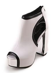Chunky tacón peep toe botines de moda de las mujeres (más colores)