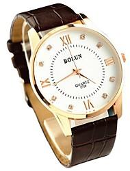 banda de cuero de línea ultrafina de los hombres reloj de vestir reloj