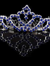 Blue Wedding Silver Plated Tiaras Hair Jewelry
