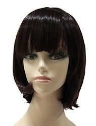 Capless Synthetic Short Straight  Bob Hairstyle Full Bang Synthetic Hair Full Wig
