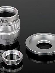 35mm F1.7 CCTV Lens + Macro Rings + C-NEX adapterring set voor Sony NEX-5C NEX-7 etc - Zilver