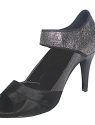 schwarzem Satin und schwarze Glitzer latin Schuhe maßgeschneiderte Frau