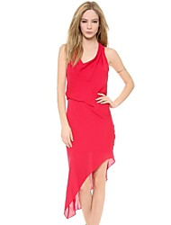 Women's Solid Red Dress , Sexy Cowl Sleeveless