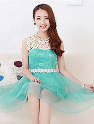 Organza Moda Dulce Princesa Vestido estilo Sleevless Mujeres Fiona (pantalla a color)
