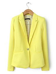 Women's Long Sleeve Blazer , Cotton Regular Casual/Work/Plus Sizes